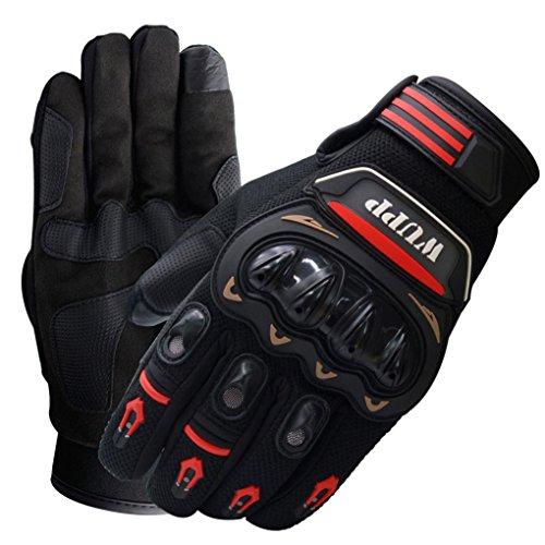 Yeefant 1 Pair 2 Neoprene Embossed Design Riding Bike Racing Motorcycle Protective Armor Short Leather Summer Warship Full Finger Gloves Mesh Black, XXL