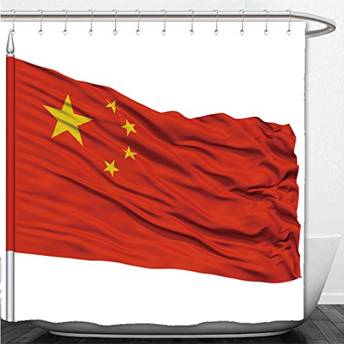 Interestlee Shower Curtain china flag on flagpole flying in the wind isolated on white background - Dc In Macy