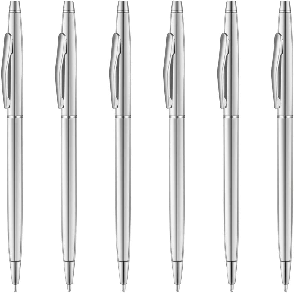 Unibene Silver Ballpoint Pens - Black Ink Medium Point 6 Pack, Cute Office Supplies for Men Women, Nice Metallic Chrome Slim Pens Bulk for Police Uniform Students Teachers Wedding