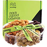 Gourmet Gift Basket Assortment, Fresh Nuts Tray (4Mix) - Variety Care Package, Birthday Party Food, Holiday Arrangement Platter, Healthy Snack Box for Families, Women, Men, Adults - Prime Delivery