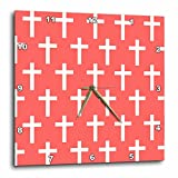 3dRose dpp_185487_2 Coral Christian Cross Pattern with White Religious Crucifix Crosses Wall Clock, 13 by 13''