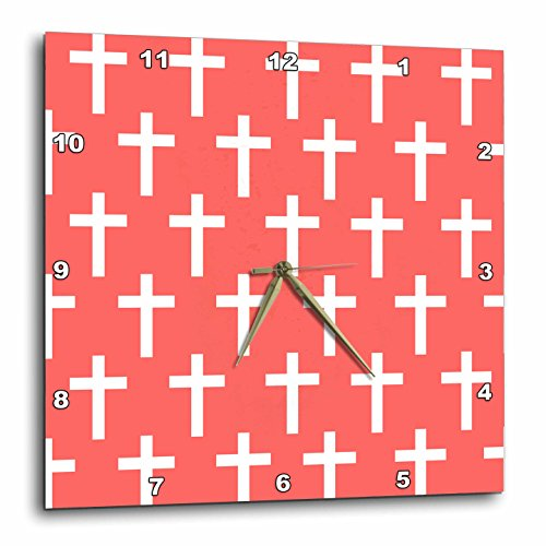 3dRose dpp_185487_2 Coral Christian Cross Pattern with White Religious Crucifix Crosses Wall Clock, 13 by 13'' by 3dRose