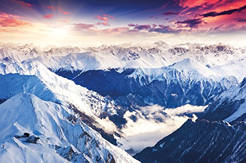 Landscape Panorama (Poster Alps Panorama Mural Decoration Winter Sunset Snow Landscape Nature Mountains Glacier Ground | Wallposter Photoposter wall mural wall decor by GREAT ART (55 x 39.4 Inch/ 140 x 100cm))