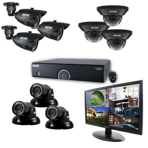 16 Channel 3TB 960H DVR Surveillance System with 9 700TVL 100-Feet Night Vision Cameras and 21.5-Inch Monitor (Black) - REVO America R165D3GT3GB3GM21-3T