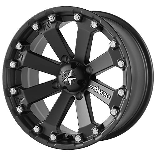 (MSA OFFROAD WHEELS M20 KORE Satin Black Wheel with Painted and Chromium (hexavalent compounds) (14 x 7. inches /4 x 112 mm, 0 mm Offset))