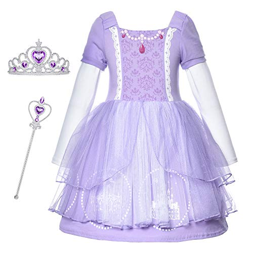 Princess Sofia Costume Generic Dresses Little Girls Long Sleeve Dress Up Clothes for Toddler Girl de Cosplay Birthday Party with Accessories Size 3t 4t 4(S) (3~4 -