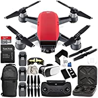 DJI Spark Portable Mini Drone Quadcopter (Lava Red) + DJI Spark Remote Controller EVERYTHING YOU NEED Ultimate Bundle