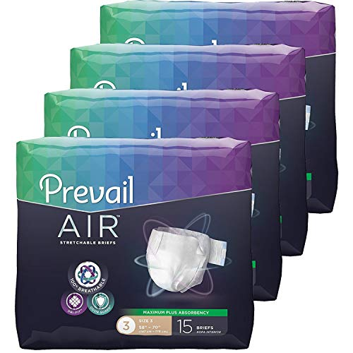 (Prevail Air Maximum Plus Absorbency Stretchable Incontinence Briefs/Adult Diapers, Size 3, 60 Count)