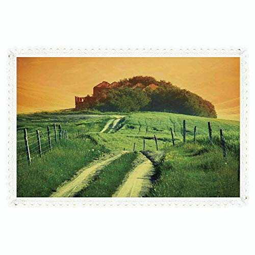 iPrint Tuscan,Rectangle Polyester Linen Tablecloth/Peaceful Landscape of Pienza Tuscany Vineyard Trees Rural Ancient Farm House/for Dinner Kitchen Home Décor,60
