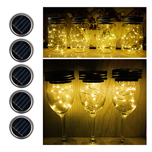 Fanme Solar Mason Jar Lights Lids 5 Pack 15 LED Fairy String Light Screw Inserts for Mason Jar Charismas Wedding Garden Patio Path Home Décor Tree Jar Lantern Decorative Lighting Warm White
