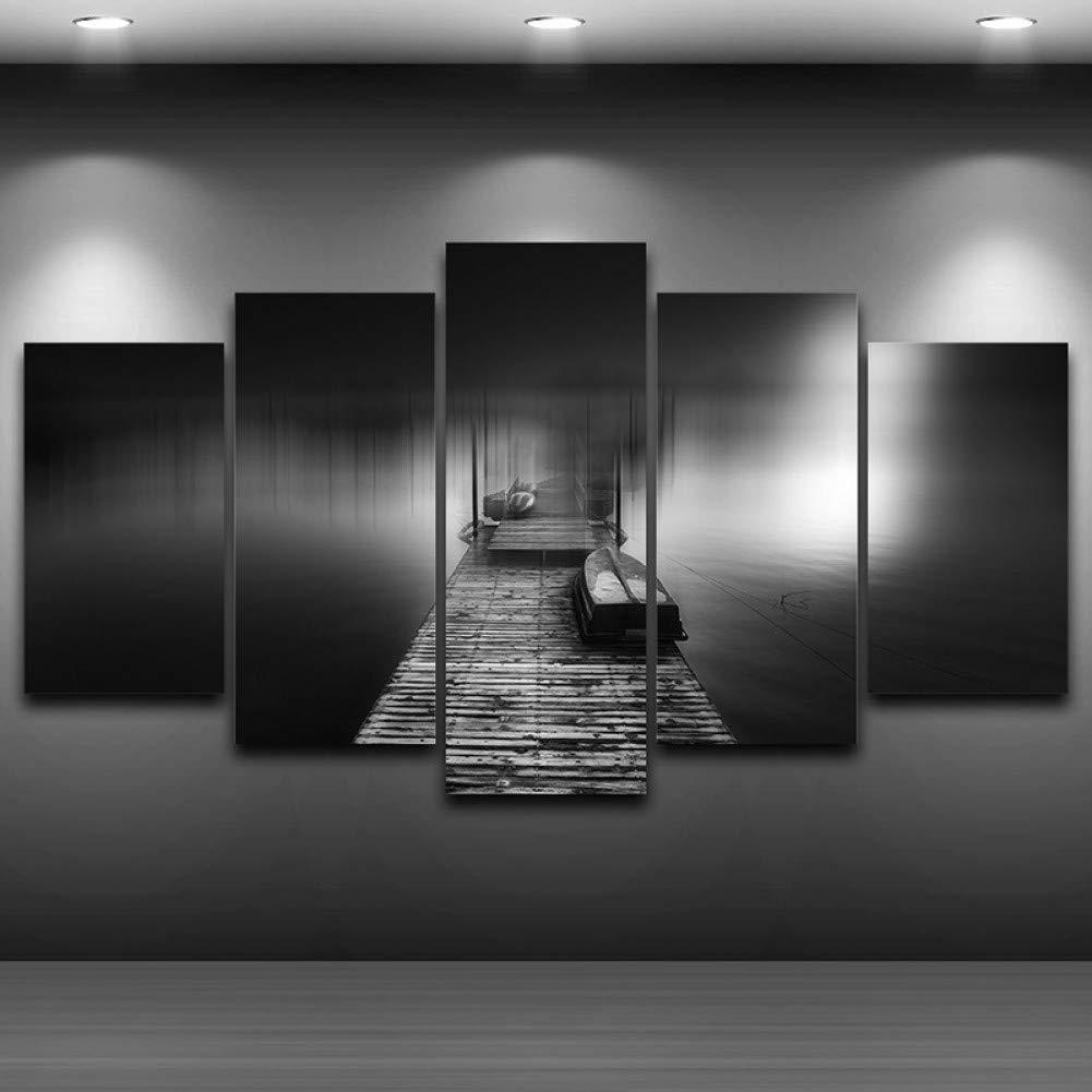 ahorra 50% -75% de descuento No Frame 20x35 20x45 20x55 YHEGV Impresiones sobre Lienzo Lienzo Lienzo Lienzo Pintura Modular Pictures Wall Art Home Decor Marco para la Sala de EEstrella 5 Paneles Puente de Madera Pier Paisaje Paisaje  Centro comercial profesional integrado en línea.