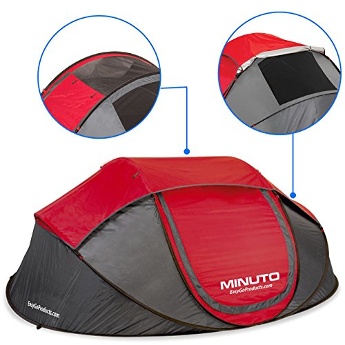 EasyGoProducts MINUTO Instant Setup Camping Tent - Family Size 3 to 4 Person Cabin Pop up Dome Tent Waterproof Tents. Sets up in Less Than 1 Minute. by EasyGoProducts