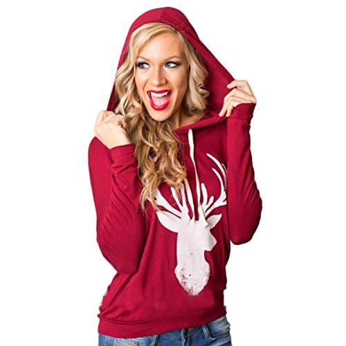 AMA(TM) Women Christmas Elk Reindeer Hooded Sweatshirt Hoodie Blouse Tops (XL, Red)