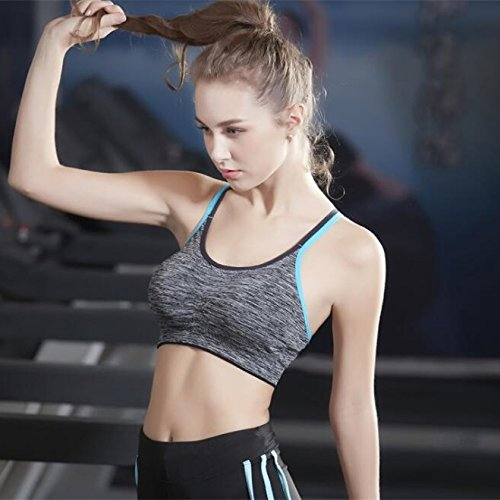 CLOUSPO Womens Sports Bra 4 Pack 2 Pack Strappy Crossback Thin Straps Wirefree Removable Pads Yoga Bra for Workout Fitness
