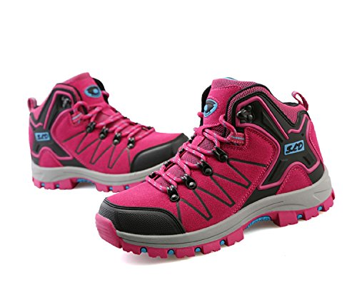 tqgold Men's Women's Trekking and Hiking Shoes Outdoor Waterproof Low Rise Hiking Boots (3.5 UK,Pink)