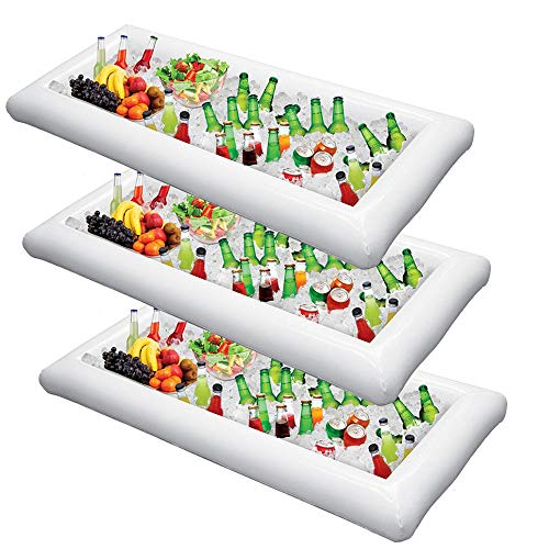 Inflatable Serving Bar Salad Ice Tray Food Drink Containers - BBQ Picnic Pool Party Supplies Buffet Luau Cooler,with a drain plug ()