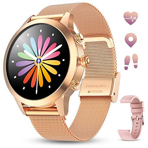 🥇 GOKOO Smartwatch Mujer Reloj Inteligente Pulsera de Actividad IP68 Impermeable Pulsómetros Elegante Reloj Inteligente Fitness Reloj Metal Monitoreo del Sueño Notificación Compatible con Android iOS