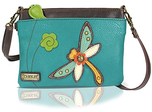 Chala Mini Crossbody Handbag, Multi Zipper, Pu Leather, Small Shoulder Purse Adjustable Strap - Dragonfly - Turquoise