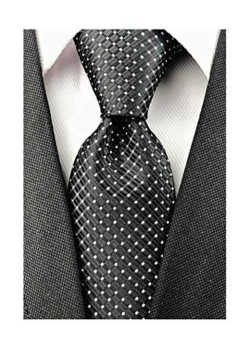 (Mens Black Silk Ties Micro Checkered Wedding Party Suit Microfiber Handmade Neckties)