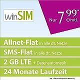 winSIM LTE All 2 GB [SIM, Micro-SIM und Nano-SIM] 24 Monate Laufzeit (2 GB LTE-Internet mit max. 50 MBit/s + Datenautomatik, Telefonie-Flat, SMS-Flat, 7,99 Euro/Monat, O2-Netz)