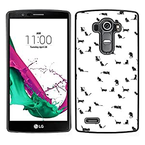 LG G4 / H815 H812 H810 H811 LS991 VS986 US991 Único Patrón Plástico Duro Fundas Cover Cubre Hard Case Cover - Dogs Cats Tiny Pets Cute Drawing White
