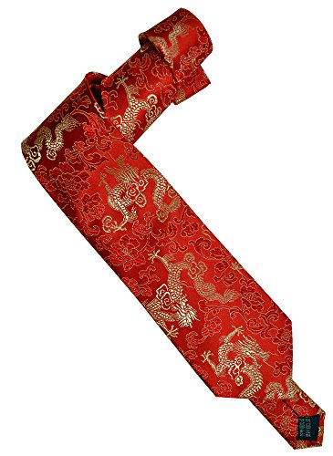 Amazing Grace Dragon Tie (Red Gold Good Luck Dragons) ()