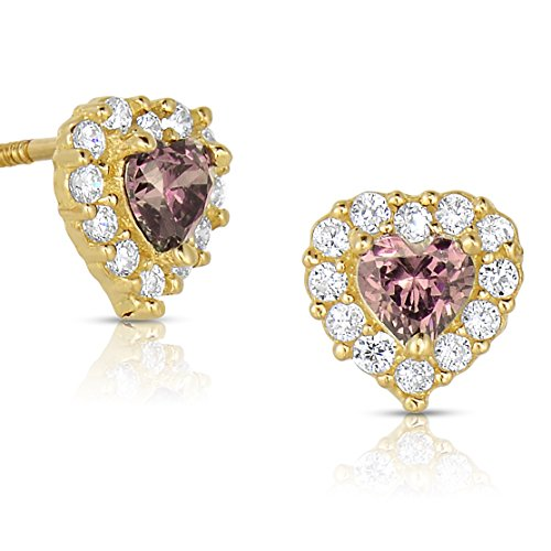 Tiny 14k Yellow Gold Heart Stud Earrings in Cubic Zirconia CZ Birth Month with Secure Screw Backs (June)