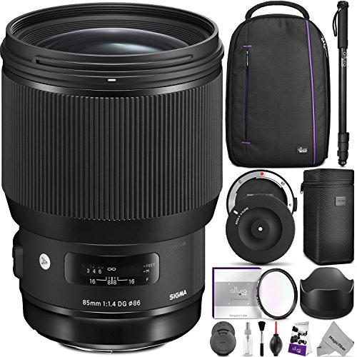 Sigma 85mm f/1.4 DG HSM Art Lens for NIKON F Cameras w/ Sigma USB Dock & Advanced Photo and Travel Bundle