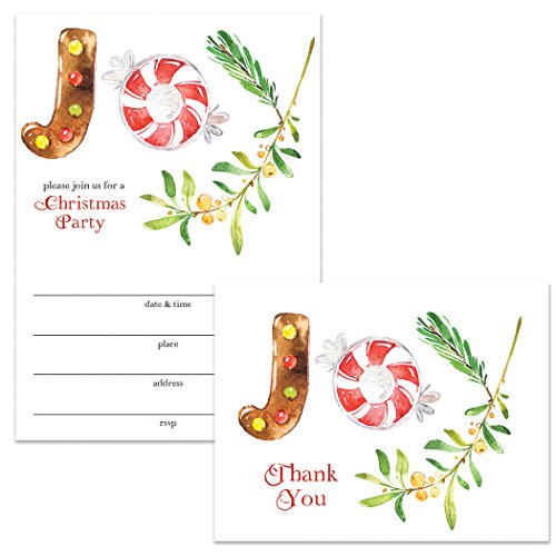 Merry Christmas Party Invitations & Folded Thank You Notes (50 Each) Set w Envelopes Joyful Holiday Celebrations Great for Church Fellowship Dinner Community Gathering Family or Office Parties VS0069L