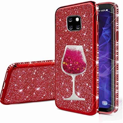 Nadoli Glitzer Hülle für Huawei Mate 20 Pro,Kristall Diamant Strass Bumper mit 3D Fließend Flüssig Treibsand Weinglas Silikon Handyhülle Frauen für Huawei Mate 20 Pro