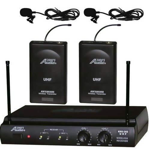 Audio2000s Awm-6032um UHF Dual Channel Wireless Microphone System with Two Lapel (Lavalier) Mic by Audio 2000S