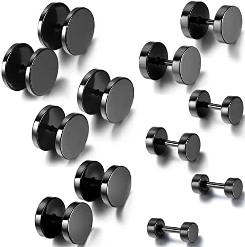 Aroncent 12PCS 6 Pairs 4-14mm Stainless Steel Black Tapers Cheater Faux Fake Ear Plugs Gauges Stud Earrings Set