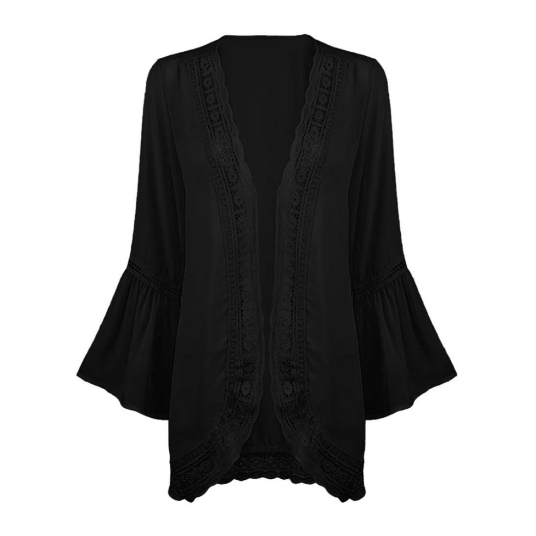 9bc43ab692ee QinMM Blusa y Camisa de Rebeca de Gasa con Encaje de Mujer, Chaqueta de  Kimono de otoño de Manga Larga Fiesta Boda Tops: Amazon.es: Ropa y  accesorios