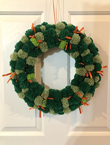 Yarn Wreath (Green Yarn and Orange Ribbon St Patricks Day Pom Pom Wreath)