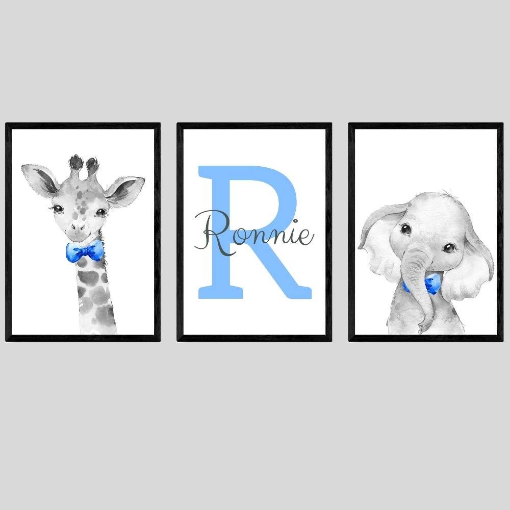 Safari Animals Boys Nursery Bedroom Unframed Set of 3 Poster Prints, Personalized Name Blue Green Yellow Bow Tie Wall Art Decor New Baby Gift Present, Elephant Giraffe Lion Zebra (17x22)