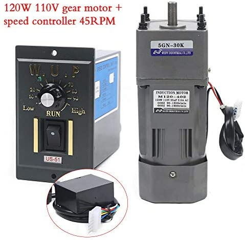 51RVst%2B0bPL. AC 110V 120W Ac Gear Motor Electric Single-phase Motor Gear Motor 0-45RPM Electric Variable Speed Adjustable Controller Governor Geared Motor and Adjustable Speed Controller Combo (Reduction ratio:1:30)     This is a geared AC motor with a working voltage of AC 110V.Less noise, stronger.It's an electric motor, widely used in homes, handcrafts, school projects, model churning soda machines, low-speed machines, and any other product you want.Its stability is strong, the use is more assured, also has the governor, the use can be more convenient. The 120W deceleration motor can achieve super fast speed of 1350 RPM, thus ensuring high efficiency.And the motor has the characteristics of heat resistance, low noise, high quality and long service life.The motor has a compact body, lightweight structure, easy to carry and operate. The single-phase motor also has a reduction gear box and a governor, the speed regulator has a large torque, with a variety of optional speeds.Therefore, it is more convenient to use. You can adjust different speed according to different products to achieve the desired effect. It is very convenient and fast to use. Name: geared motor. Rated voltage: AC110 V. Rated speed: 45RPM/MIN. Reduction ratio: 1:30(30K). Power Phase: single-phase. 120W geared motor:6.5inch * 3.5inch *3inch. Reducer size: 2.5inch*3.5inch *3inch. Torque: at full speed 20nm. 120W gear motor Output speed: 45~0RPM. Product List:1 * Gear Motor, 1 * speed controller, 1 * Reducer. Our products are shipped directly from the US warehouse. We have strict quality control system, our products are put into the market after rigorous testing. We provide friendly customer services forever. If you have any questions or quality issue,please feel free to contact us.