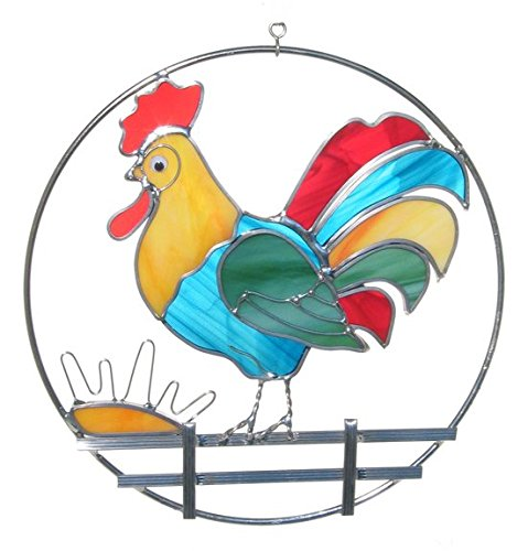 Stained Glass Rooster on Fence Ring
