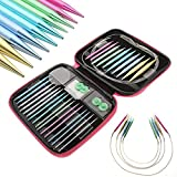 4-inch Interchangeable Aluminum Circular Knitting Needle Kit 2.75mm-10mm With Zipper Storage Case (13 Sizes/Set)