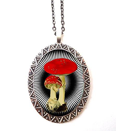 Mushroom Necklace Pendant Festival Fashion Shroom Psychedelic Trippy Amanita Muscaria Op Art