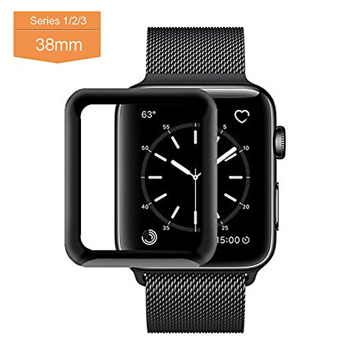Apple Watch Screen Protector Tempered Glass 38mm, Full Coverage Bumper Screen Protector Case with 3D Curved Edge for Iphone Watch Series 3/2/1, High Definition, Anti Scratch