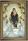 Historic Art Gallery the Virgin with Angels by William Adolph Bouguereau Framed Canvas Print, 19'' x 30'', Gold Lined