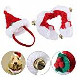 Ungfu Mall 2pcs Christmas Collar and Hat For Small Pet Kitten Doggy Santa Hat Collars Necktie with Bell Cat Dog Christmas Costume Set Winter Clothes Warm Soft Lovely for Kitty Puppy Sweet Gift