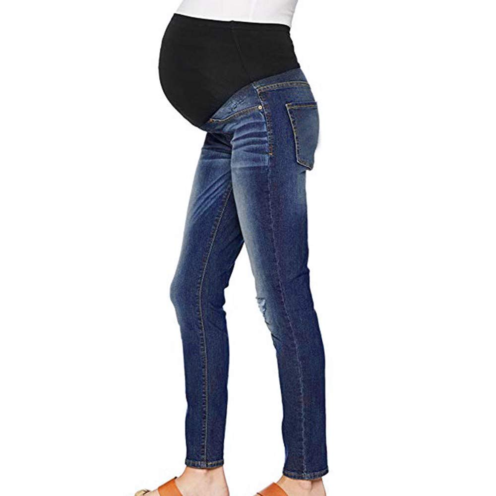 Zerototens Plus Size Pregnancy Leggings For Women, Fashion Solid Blue Maternity Loose Fit Ripped Jeans Pregnant Over The Bump Vintage Denim Trousers, S-2XL