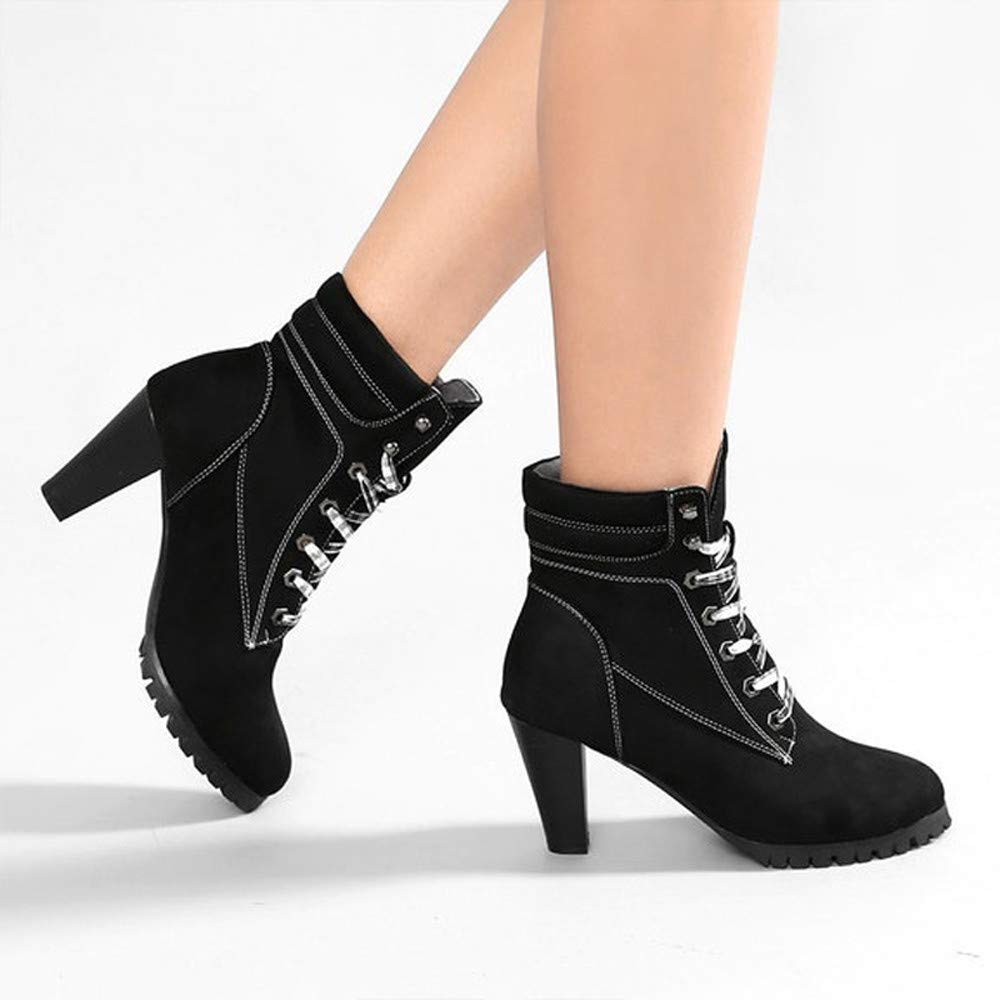Londony ♪✿ Clearance Sales,Womens Round Toe Chunky Heeled Fashion Slim Fit Ankle Boots Lace Up Booties Martin Shoes