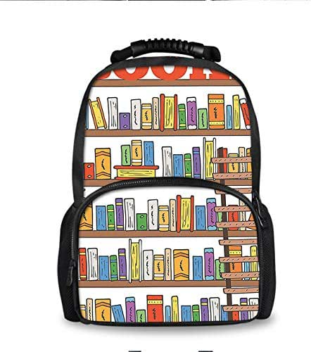 Classical Basic Travel Backpack School Bookbag Modern Library Bookshelf With A Ladder for Primary Junior High School Youth with Soft Shoulder Paded Strap and Breathable Back Pad