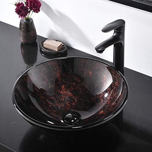 (IKEBANA 16.5'' X16.5'' Artistic Vanity Round Tempered Glass Vessel Sink, Bathroom Sink Without)