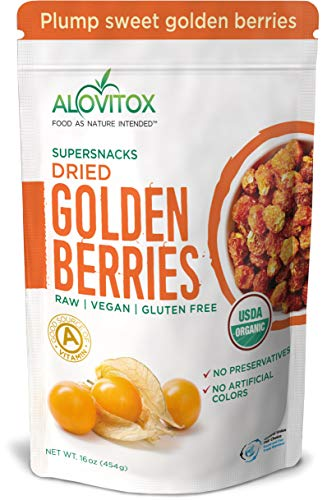 Golden Berries - All Natural Fresh Incan, Gooseberries Raw, Vegan, Gluten Free, Paleo Dried Super Fruit, Smart Protein Fiber Organic 16oz by Alovitox