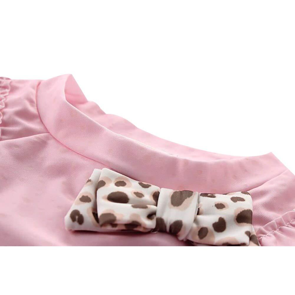 Baby Girls 2-4T Two Piece Swimwear Bathing Suit Cute Floral Bowknot Rash Guard Swimsuits Leopard Skort UPF50+