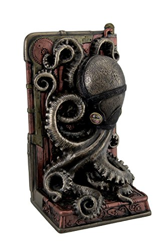 Resin Decorative Bookends Steampunk Octopus Bronze Finished Single Bookend 3.75 X 8 X 4.5 Inches Bronze