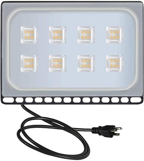 Viugreum 50W LED Flood Lights, Waterproof IP67 Outdoor Work Lights, 110V 5000LM Warm White 3000K , Super Bright Security Floodlights Wall Lights Landscape Lights with US Plug